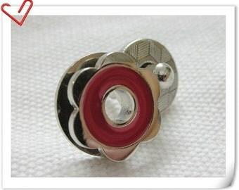 17mm hexapetalous flower Magnetic Snaps bag button purse Magnetic Snaps button RED F58