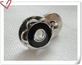 17mm hexapetalous flower Magnetic Snaps bag button purse Magnetic Snaps button BLACK F53