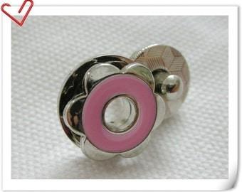 17mm hexapetalous flower Magnetic Snaps bag button purse Magnetic Snaps button PINK F57