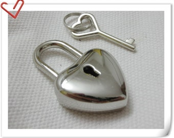 Silver  lock and key heart Charm 4.5cmx2.5cm E49