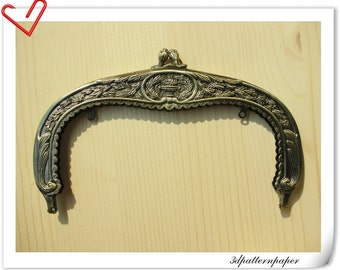 7 inch vintage  antique bronze purse frame D28