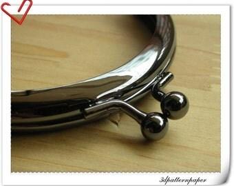 8cm half round gunmetal purse frame A34