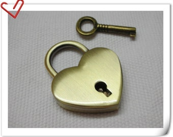 Small Heart Padlock Anti brass little cute lock 1.5inch x 1.25inch E47