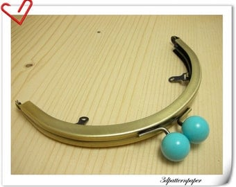 6 inch half round light blue bobble anti bronze purse frame  (with loops) purse making supplies AB94M