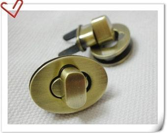 one Pcs 1 inch twist locks Purse  Lock turn lock Anti brass E69