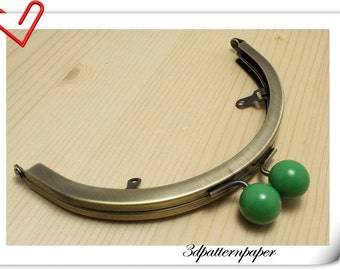 6 inch half round Green bobble anti bronze purse frame  (with loops) purse making supplies AB94N