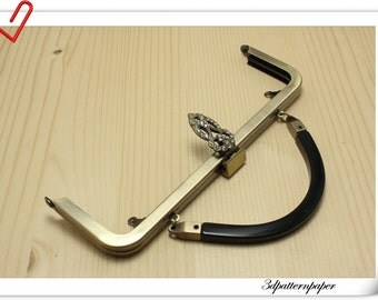 20cm brushed anti bronze purse frame with handle D39