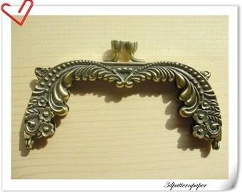 13cm vintage Brushed anti brass purse frame with rhinestone D34