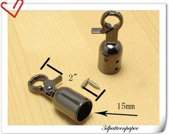 6pcs Gunmetal  End stopper With Hook  Rope stopper  belt stopper E23