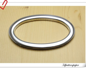3 1/2 inch (Inner diameter)  Silver handbag handle oval cut out  bag handle  a pair D47