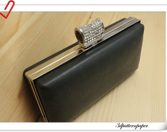 16.5cm x 8cm(6 1/2 x  3 1/8 inch) rectangle dressing case purse frame Silver with with rhinestone K61