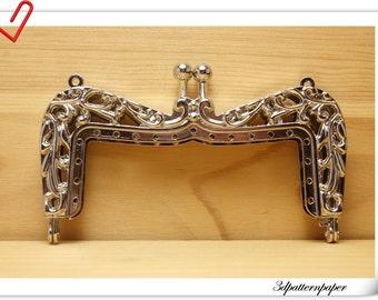 purse frame,10.5 cm, Crown,  Silver  (purse frame wholesale) D22