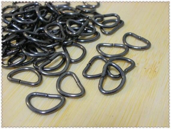 40pcs 1cm (inner diameter) gunmetal D-rings  i25