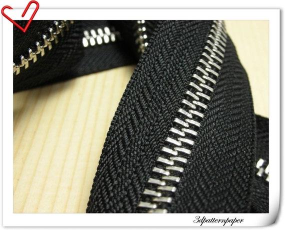 Sold by the yard  Metal Ykk Zipper  Nickel teeth Black  (no metal fitting) AC13