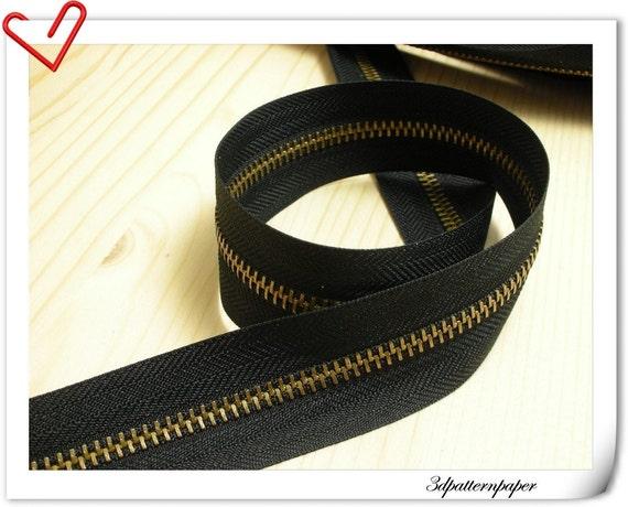 One Yard Anti Brass copper teeth Zipper Black (Make zipper yourself) AC7