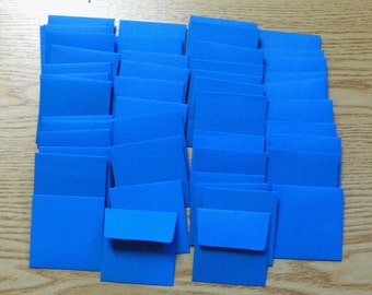 Handmade PaperArt Fifty Mini Envelopes in Medium Dark Blue Text Paper