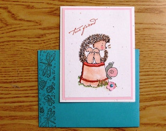 Handmade PaperArt True Friendship Hedgehog Greeting Card with Penny Black Images on Stampin Up Cardstock and Classic Inks, blank inside