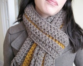 Taupe and Butterscotch Chunky Scarf