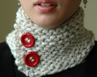 Cream Button Neckwarmer