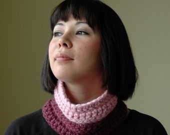 Pink and Purple Chunky Cowl