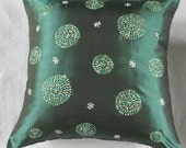 green circle embroidery cushion cover in silk tafferta 18X18 inch decorative pillow- 18 inches