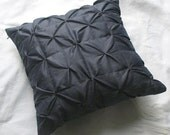 charcoal gray pin tuck decorative throw pillow and cushion cover 18 inch - can be custom made in any size
