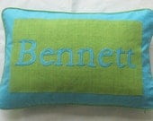 name pillow custom made  blue and green personalized pillow kids favourite pillow. Kids room pillow. nursery pillow  12x20 inches