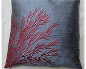 Gray silk  throw pillow cover w/ coral branch embroidery 16 inch cushion cover