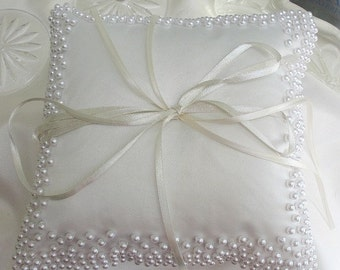 Wedding Ring Pillow for Ring bearer in white with white beads