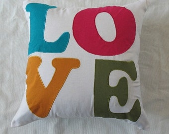 love is in the air - cream love pillow in linen 22 in