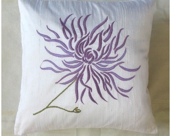 Chrysanthemum cushion cover -white with lilac embroidery 16X16 inch decorative pillow