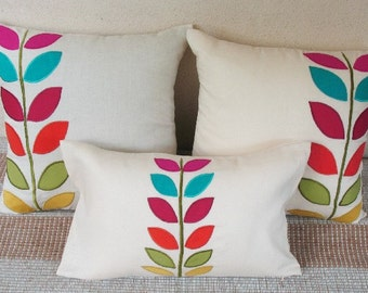 smarties applique leaf linen cushion cover 18 inch toss pillow.  set of 3