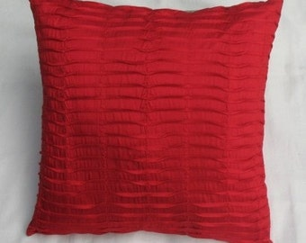 Bright red Silk pin tuck pillow. red cushion cover. 16X16 inch decorative throw pillow cover