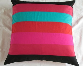 black floor pillow cushion cover with Multicolor stripes -  custom made 26x 26 , 30x30 and 28x28 inch