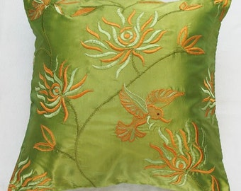 Lime green throw pillow cover with humming bird and chrysanthemum decorative 18 inch