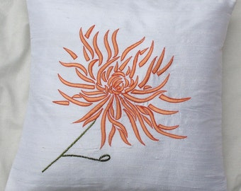 white Chrysanthemum throw pillow cushion cover with orange embroidery 18X18 inch decorative pillow