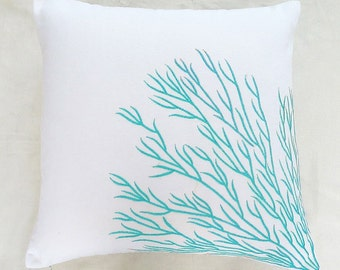 aqua blue coral pillow. Decorative  Aqwa and white sea coral  cushion  cover.  in stock pillow  20% off.