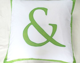 Ampersand and pillow  Custom Made -18 inch  throw cushions. chose  your  colors.  can  be  customized