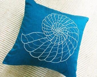 blue sea shell nautical throw pillow 16 inch cushion cover