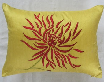 Lime Yellow Chrysanthemum long pillow with red.bright yellow dupioni silk pillow. embroidery 8x10 inch decorative cushion cover. Custom made