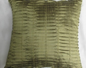 olive green dupioni silk pintuck cushion cover 16X16 inches throw pillow