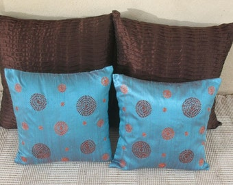 Turquoise blue shot colour dupaoni silk throw pillow cover with retro circle design  Embroidered 16 inch cushion cover. Can be customised.
