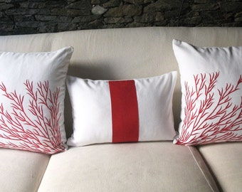 red silk on white rectangle throw pillow 12X20 inch long cushion cover