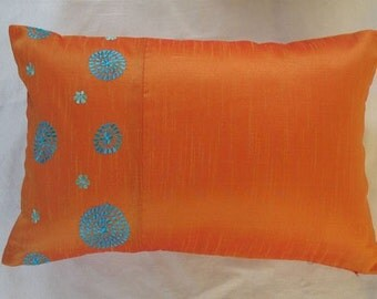 Orange and blue oblong cushion cover with circle embroidery 12X18 inches throw pillow