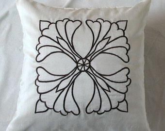 off white  and black decorative throw pillow 18 inch art deco motif embroidery cushion cover
