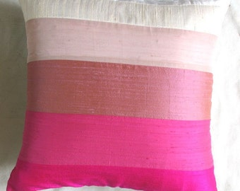 pink striped throw pillow cover. Made of Hot pink and light pink panals 22x22inch Pink decorative cushion cover made with  row silk panels.