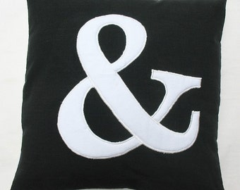 Ampersand  throw pillow in black and white 20 inch custom made cover only