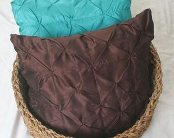 chocolate brown euro sham throw pillow cover 26 inch silk pin tuck cushion cover  Custom Made