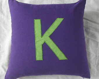 Monogrammed pillow letter pillow. Alphabet  pillows 18 inch decorative toss pillows . Custom made. Choose your colors and monogram 18 inch
