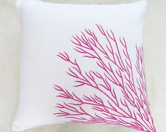 white and fuchsia pink coral trellis branch pillow 16 inch